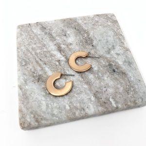 4/$25 • Shiny Gold Flat Hoop Earrings